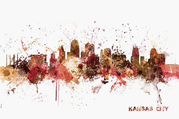 Kansas Digital Art - Kansas City Skyline by Michael Tompsett