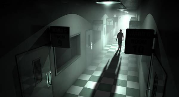 Shadow Digital Art - Mental Asylum With Ghostly Figure by Allan Swart