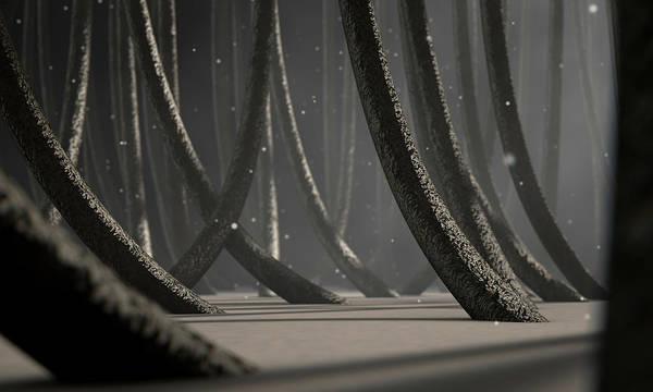 Reflective Digital Art - Microscopic Hair Fibers by Allan Swart