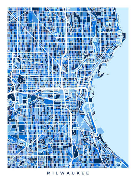 Wall Art - Digital Art - Milwaukee Wisconsin City Map by Michael Tompsett