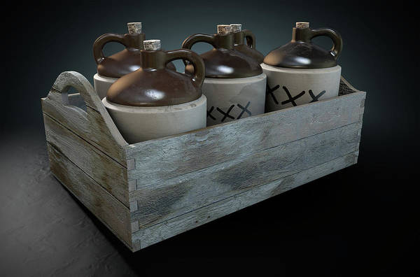 Wooden Box Digital Art - Moonshine In Wooden Crate by Allan Swart