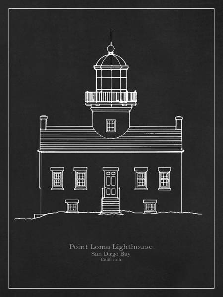 Wall Art - Drawing - Old Point Loma Lighthouse - California - Blueprint Drawing by JESP Art and Decor