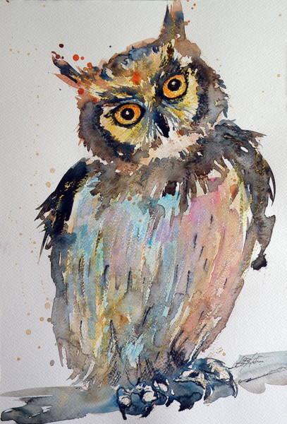 Owl Painting - Owl by Kovacs Anna Brigitta