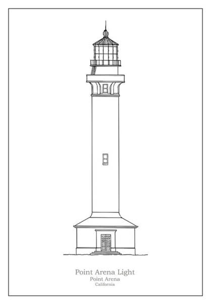 Wall Art - Drawing - Point Arena Lighthouse - California - Blueprint Drawing by JESP Art and Decor
