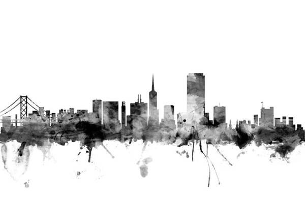 San Francisco Skyline Wall Art - Digital Art - San Francisco City Skyline by Michael Tompsett