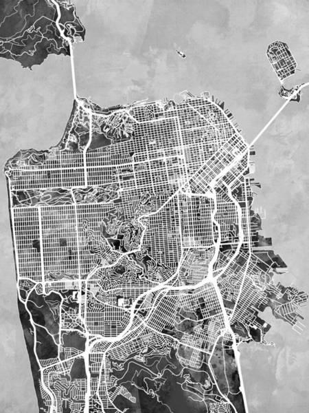 San Francisco Wall Art - Digital Art - San Francisco City Street Map by Michael Tompsett