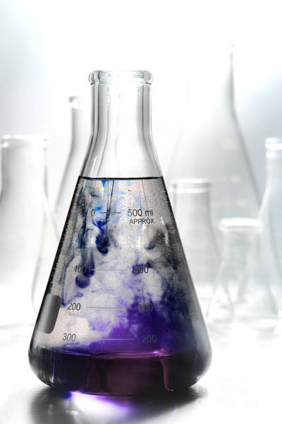 Flask Wall Art - Photograph - Scientific Experiment In Science Research Lab  by Olivier Le Queinec