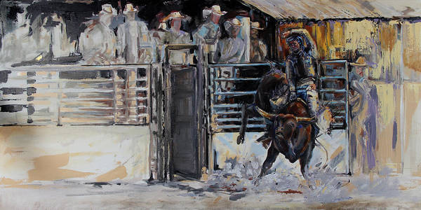 County Fair Painting - 8 Seconds Fine Art Oil Painting By Kim Guthrie Art by Kim Guthrie