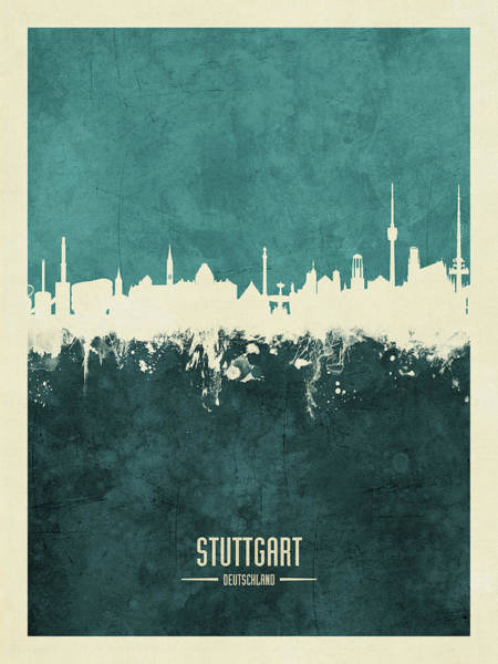 Wall Art - Digital Art - Stuttgart Germany Skyline by Michael Tompsett