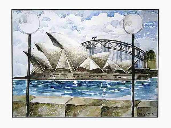 Aborigine Painting - Sydney Opera House by Yelena Revis