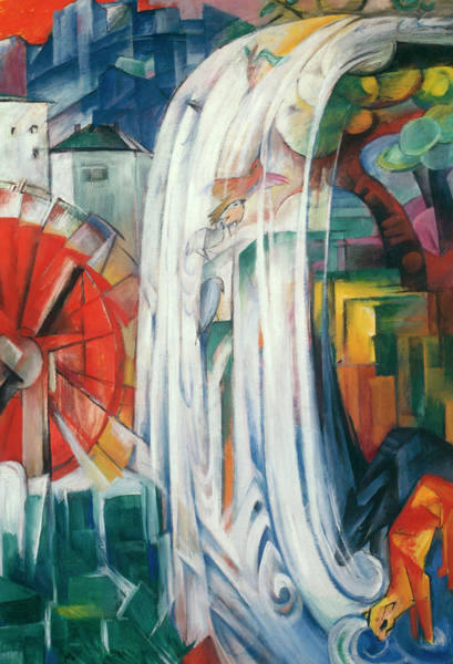 The Blue Rider Wall Art - Painting - The Bewitched Mill by Franz Marc