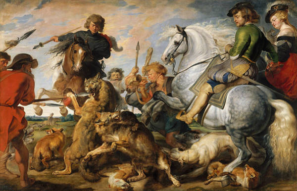 Painting - Wolf And Fox Hunt by Peter Paul Rubens