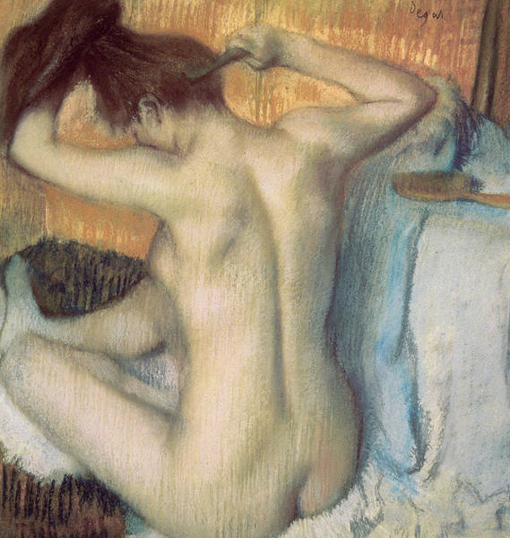 Bottom Painting - Woman Combing Her Hair by Edgar Degas