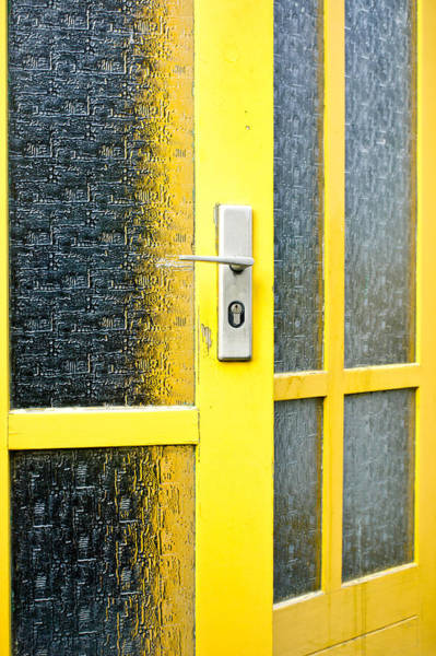 Frosted Glass Photograph - Yellow Door by Tom Gowanlock