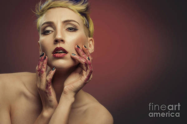 Wall Art - Photograph - Young Woman With Glittered Hands And Lips by Amanda Elwell