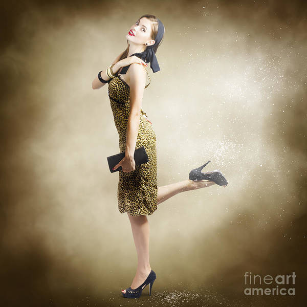 Dust Photograph - 80s Pinup Woman Kicking Up Dust And Sand by Jorgo Photography - Wall Art Gallery