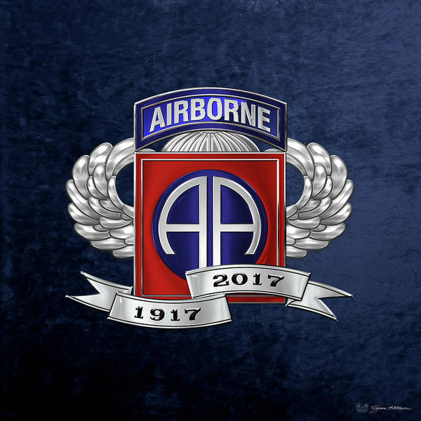 Digital Art - 82nd Airborne Division 100th Anniversary Insignia Over Blue Velvet by Serge Averbukh