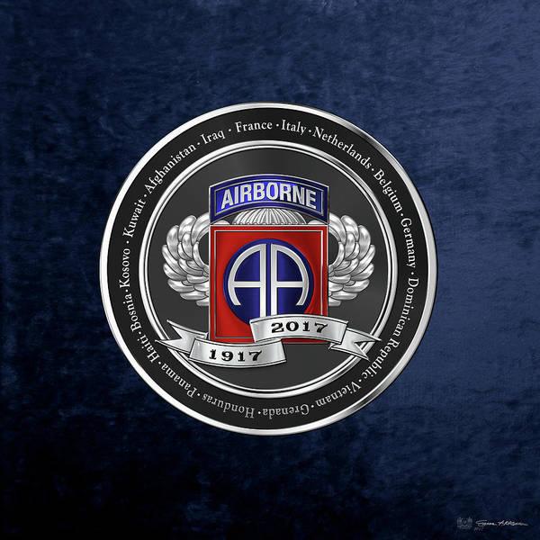 Digital Art - 82nd Airborne Division 100th Anniversary Medallion Over Blue Velvet by Serge Averbukh