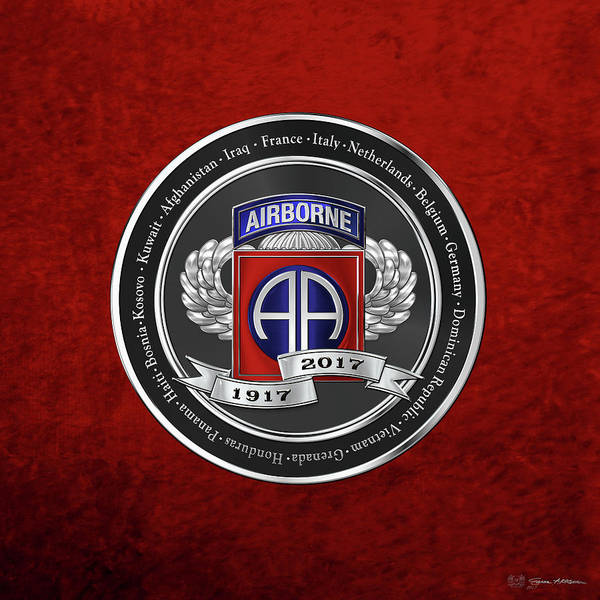 Digital Art - 82nd Airborne Division 100th Anniversary Medallion Over Red Velvet by Serge Averbukh