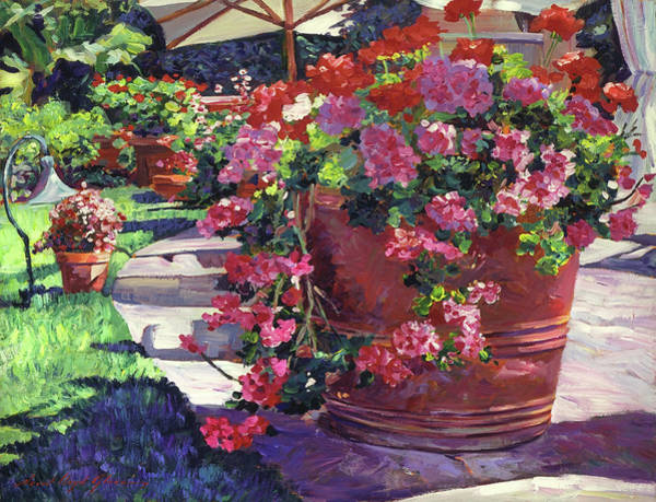 Red Geraniums Wall Art - Painting - Geranium Color Pot by David Lloyd Glover