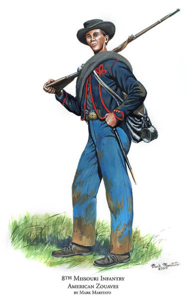 Wall Art - Painting - 8th Missouri Infantry - American Zouaves by Mark Maritato