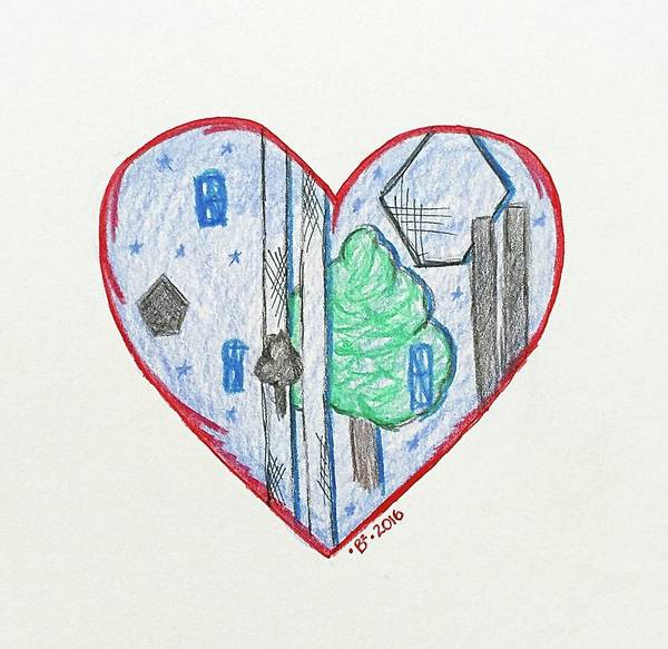Twin Towers Drawing - 9/11 Heartgarden by Barbara Bellissimo