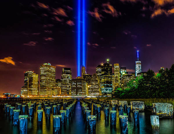 Photograph - 9/11 Tribute In Light 2015 - Brooklyn by Nick Zelinsky