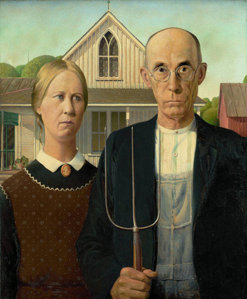 Mourning Painting - American Gothic by Grant Wood