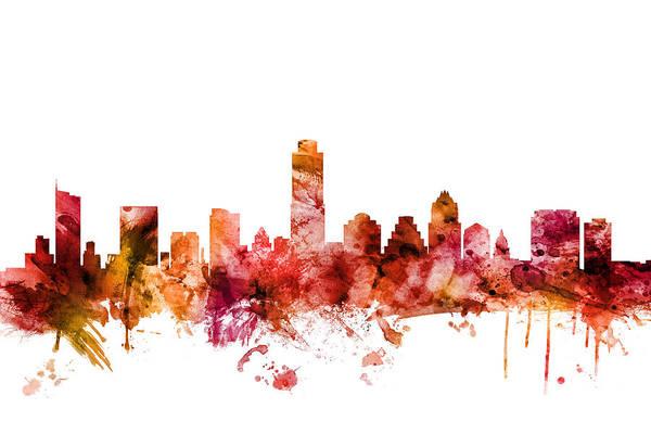 Texas Digital Art - Austin Texas Skyline by Michael Tompsett