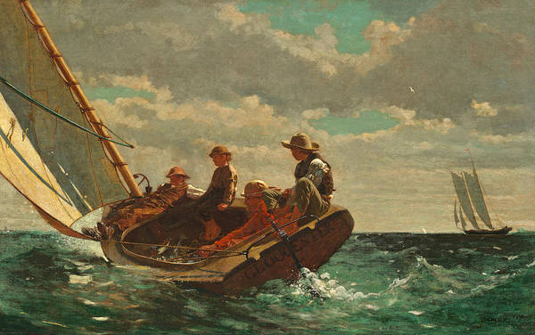 Homer Painting - Breezing Up by Winslow Homer
