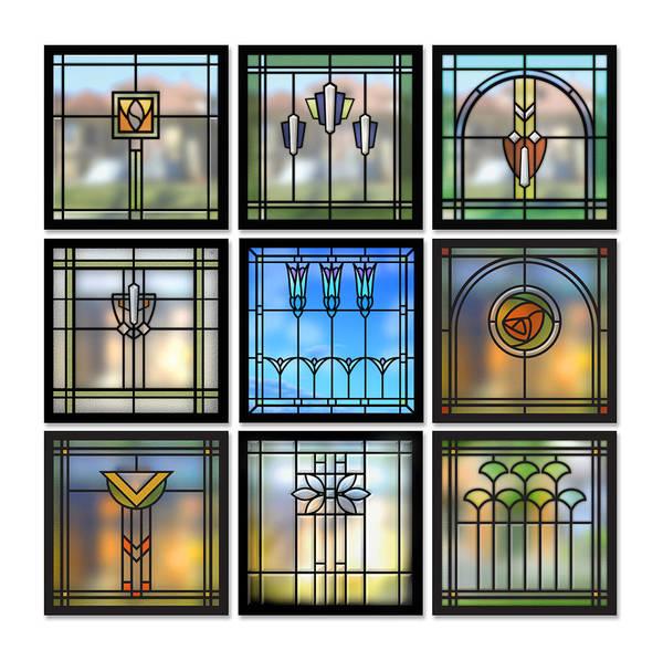 Stained Glass Digital Art - 9 Bungalow Windows by Geoff Strehlow