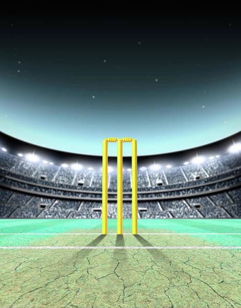 Pitch Digital Art - Floodlit Stadium Night by Allan Swart