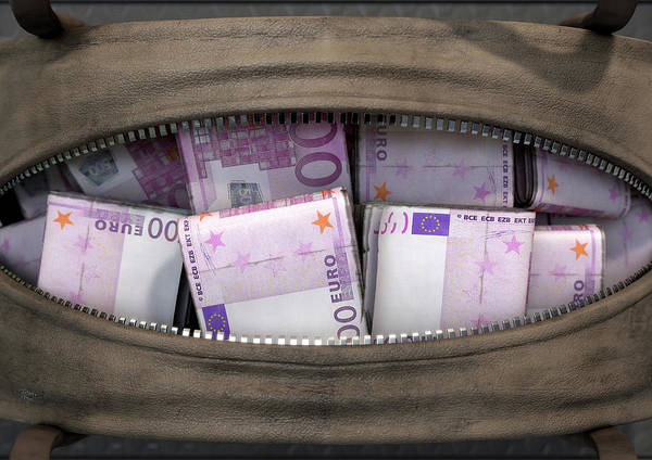 Wall Art - Digital Art - Illicit Cash In A Brown Duffel Bag by Allan Swart