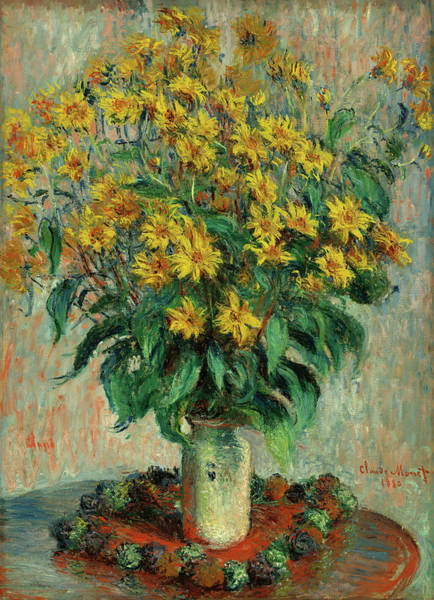 Artichoke Painting - Jerusalem Artichoke Flowers by Claude Monet