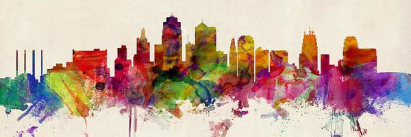 Wall Art - Digital Art - Kansas City Skyline by Michael Tompsett