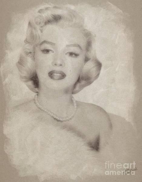 Marilyn Drawing - Marilyn Monroe Vintage Hollywood Actress by John Springfield