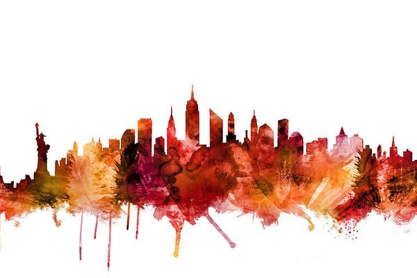 New York Skyline Wall Art - Digital Art - New York City Skyline by Michael Tompsett