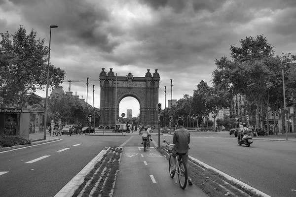 Photograph - Barcelona Arc De Triomf Street Scene by Georgia Fowler