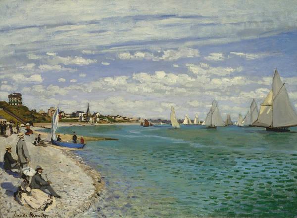 Painting - Regatta At Sainte-adresse by Claude Monet