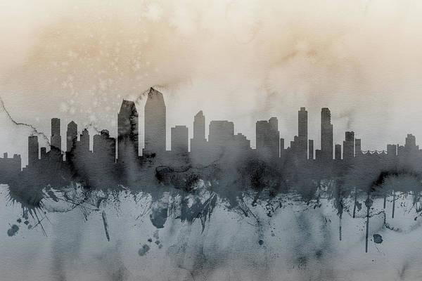 San Diego Digital Art - San Diego California Skyline by Michael Tompsett