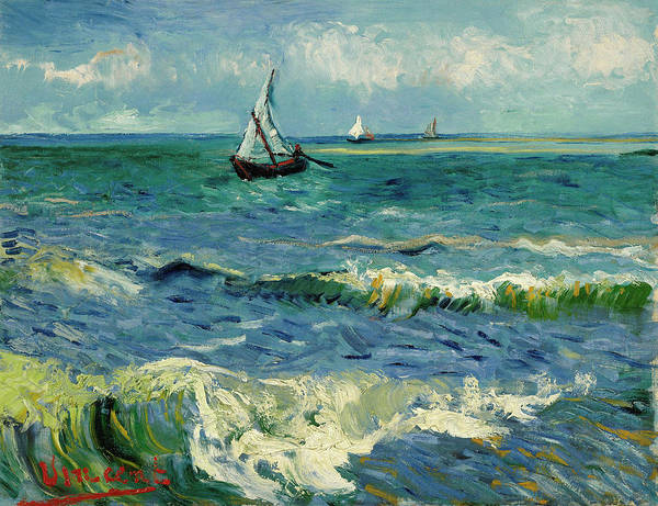 Wall Art - Painting - Seascape Near Les Saintes-maries-de-la-mer by Vincent van Gogh