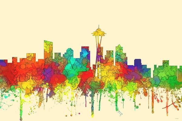 Wa Digital Art - Seattle Washington Skyline by Marlene Watson
