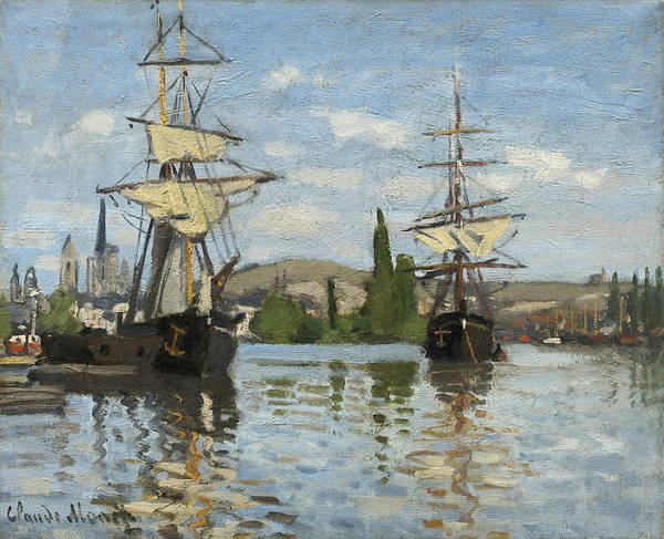Painting - Ships Riding On The Seine At Rouen by Claude Monet
