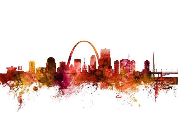 Wall Art - Digital Art - St Louis Missouri Skyline by Michael Tompsett