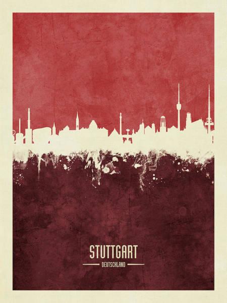 Wall Art - Digital Art - Stuttgart Germany Skyline by Michael Tompsett