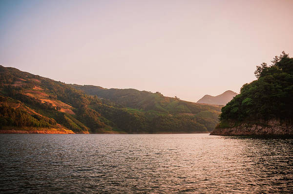 Photograph - The Mountains And Lake Scenery In Sunset by Carl Ning