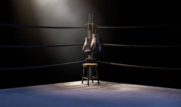 Ring Digital Art - Vintage Boxing  Corner And Hung Up Gloves by Allan Swart
