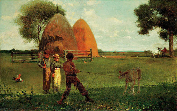 Sickle Painting - Weaning The Calf by Winslow Homer