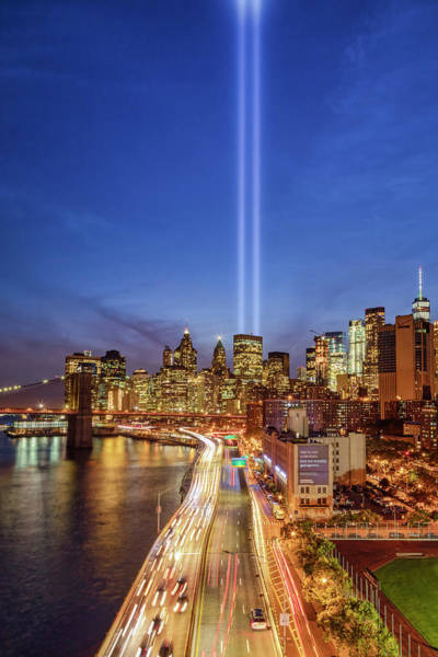 Photograph - 911 Tribute In Light In Nyc II by Susan Candelario
