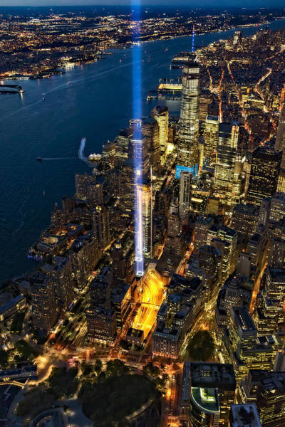 Photograph - 911 Tribute In Light Nyc Aerial View by Susan Candelario
